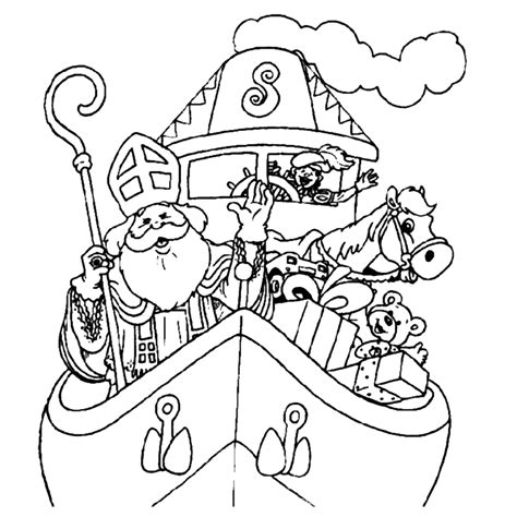 Zwarte Piet Gezicht Kleurplaat by Kleurplaat Sinterklaas Op De Pakjesboot Kleurplaatje Nl