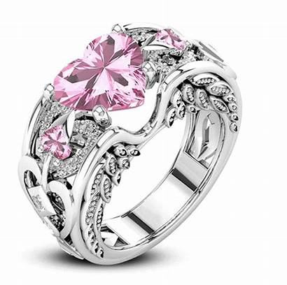 Luxury Crystal Engagement Heart Ring Couple Zircon