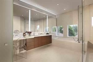 miroir salle de bain lumineux en 55 designs super modernes With carrelage adhesif salle de bain avec led neon lights
