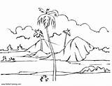 Coloring Pages Landscape Island Summer Fun Printable Adults sketch template