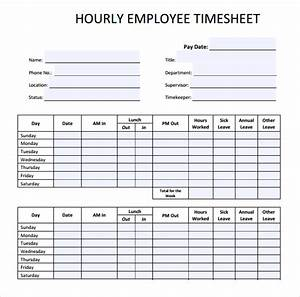 22 employee timesheet templates free sample example for Hourly employee timesheet template