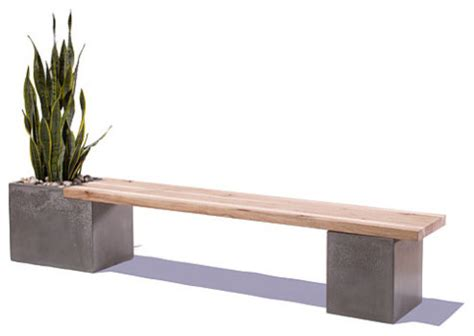 modern outdoor bench concrete wood planter bench by tao concrete modern