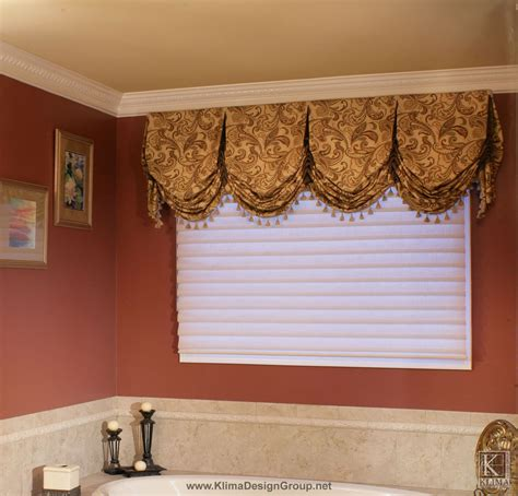 custom bathroom valance  contrast trim  buttons