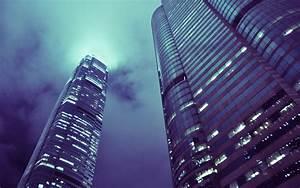 Wallpaper skyscrapers, night, hong kong, fog, clouds ...