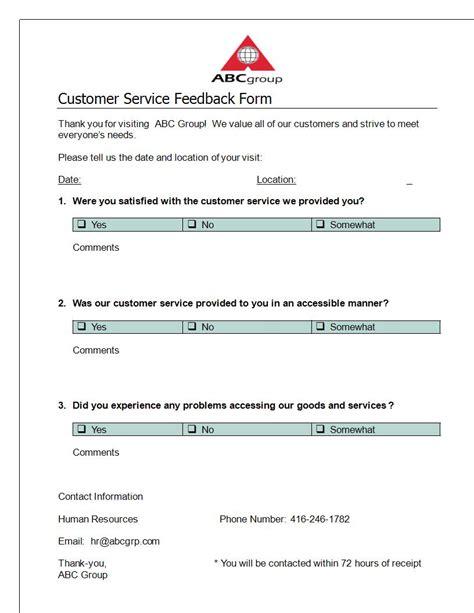 include  customer feedback forms
