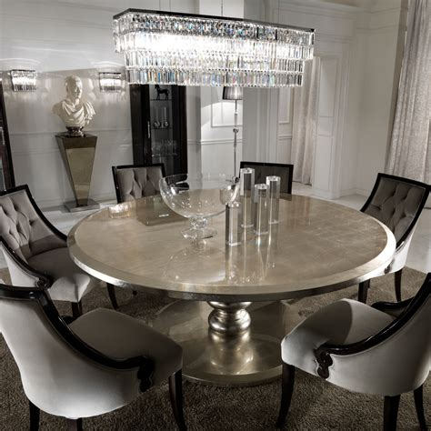 large round table large round italian chagne leaf dining table and chairs set