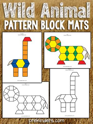 animals activities and lesson plans for pre k and 458 | wild animal pattern block mats 300x400