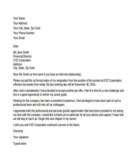 job resignation letters