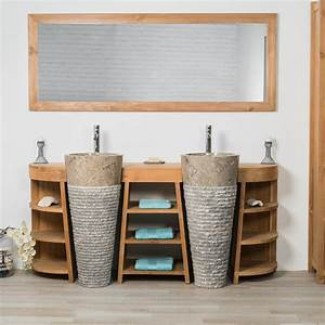 meuble sous vasque double vasque en bois teck massif With meuble de salle de bain promo
