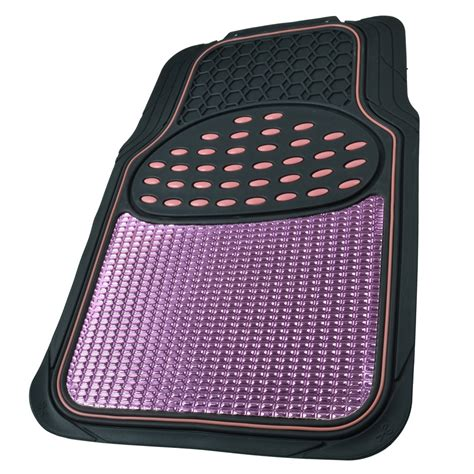 rubber car floor mats aluminum metallic trimmable rubber car floor mat pink