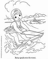 Coloring Water Ski Sheets Season Fun Printable Cool Horse Honkingdonkey sketch template