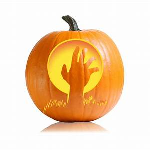 Zombie, Hand, Pumpkin, Stencil