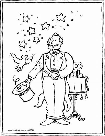 Magician Colouring Circus Drawing Kiddicolour Pages Receiver