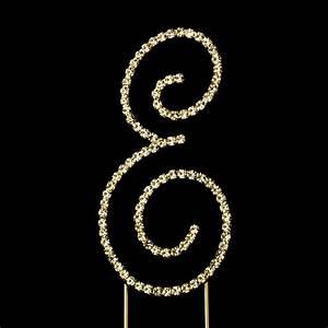 renaissance swarovski crystal wedding cake topper gold With letter e cake topper