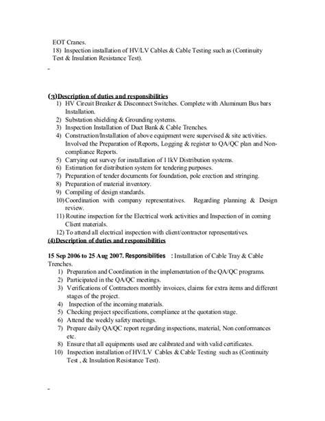 100 qa qc inspector resume sle antithesis guild