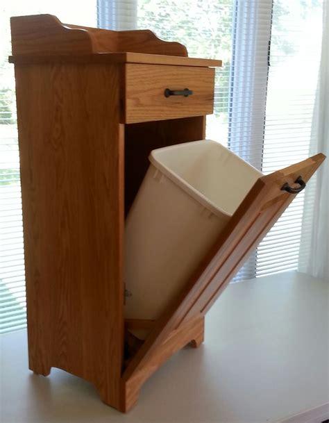 picture  amish  wooden slim  tilt  trash bin