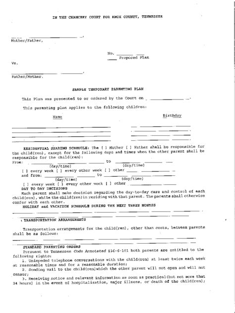 tennessee parenting plan form tennessee divorce forms free templates in pdf word