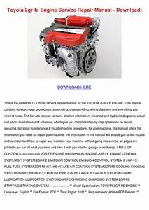 Toyota 2gr Fe Engine Service Repair Manual Do By