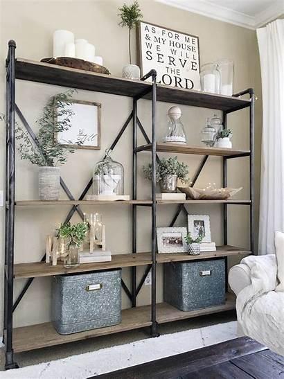 Farmhouse Shelf Decor Bookshelf Industrial Open Accents
