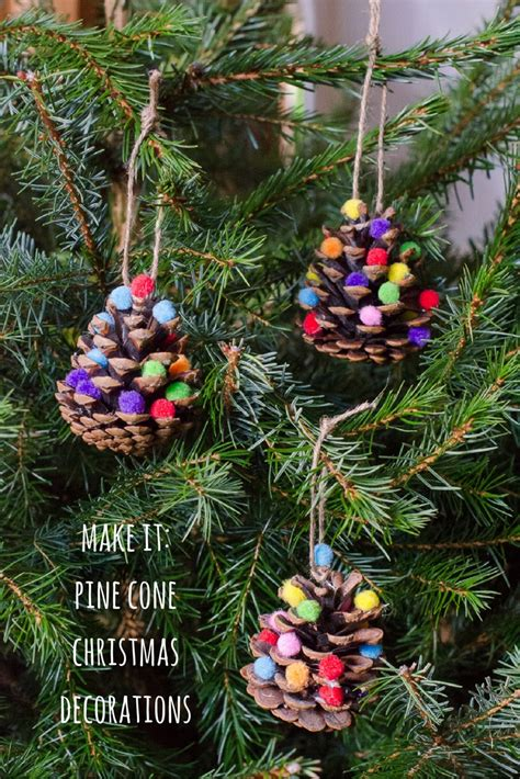 homemade christmas decorations pom pom pine cones