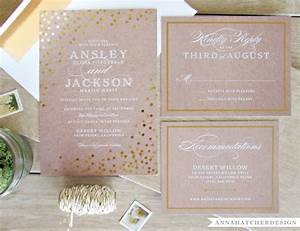 gold foil wedding invitation with matching reply and enclosure With personalised foil wedding invitations