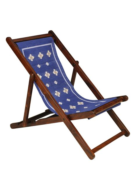 Buy Fabindia Blue Sheesham with Durrie Easy Chair Online