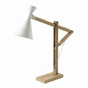Lampe Bureau Bois : lampe de bureau en bois et m tal blanche h 77 cm cagliari maisons du monde ~ Teatrodelosmanantiales.com Idées de Décoration