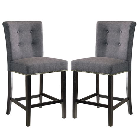 2 pcs dining counter height side chair nailhead trim 24 quot h