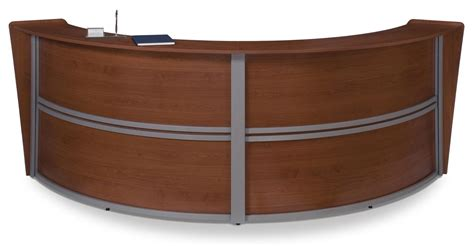 curved reception desks curved reception desk station with cherry finish