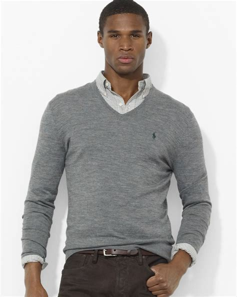 mens v neck sweater ralph polo merino wool v neck sweater in gray for