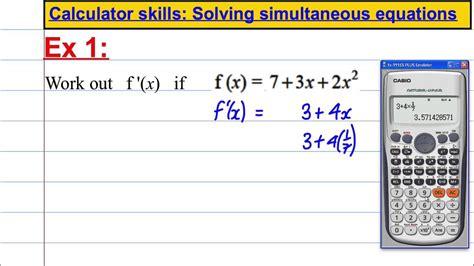casio fx es  calculator skills differentiation youtube