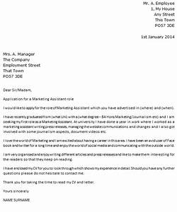 marketing assistant cover letter example icoverorguk With marketing covering letter examples