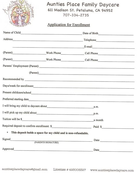 child care employment application form printable daycare applications online application