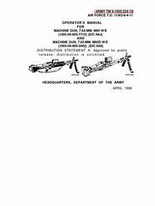 Operator U0026 39 S Manual For M60 7 62 Mm Machine Gun