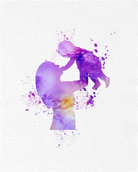 Watercolor Art Mother and Child Modern 8x10 Wall Art Decor
