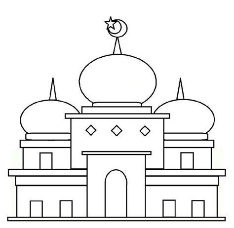 contoh dan gambar mewarnai masjid untuk anak