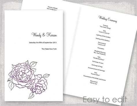 wedding program template booklet wedding program template amethyst purple and green quot peony quot diy printable order of ceremony