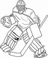 Hockey Coloring Player Goal Costume Keeper Netart sketch template