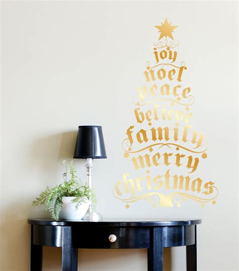 dcwv home christmas wall decal gold foil christmas tree