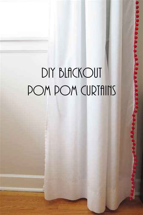 blackout curtains diy blackout pom pom curtains fiscally chic Diy