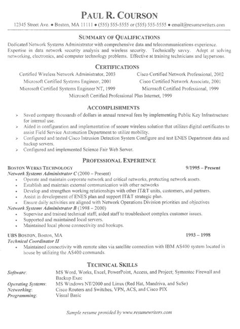 network technician resume exle network administration