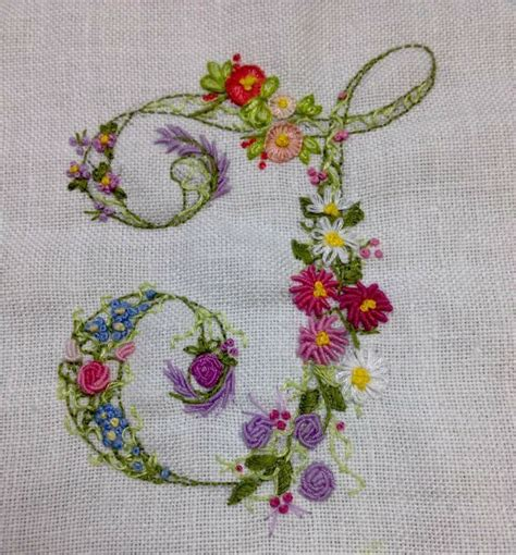 embroidered floral monogram hand embroidery letters ribbon embroidery embroidery alphabet