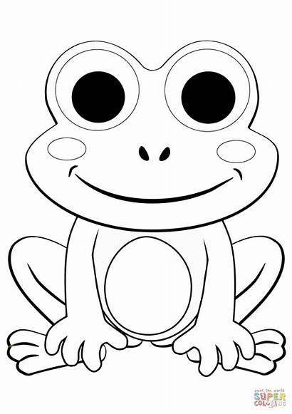 Frog Coloring Cartoon Rana Colorear Printable Face