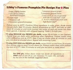 Libby U2019s Famous Pumpkin Pie Recipe For 2 Pies  U00ab Recipecurio Com
