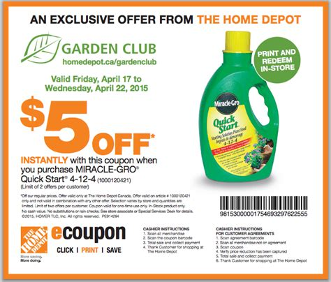 the home depot garden club printable coupons save 5