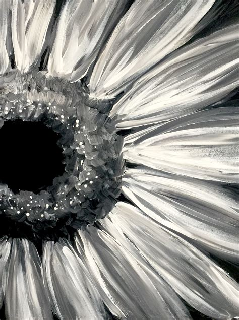 When you have a white canvas any colour you paint onto it looks drastically different because of the optical effects and tricks colour plays on you. Sunflower Noir by Shannon Chiba - Paint Nite Paintings   Black canvas paintings, Black canvas ...