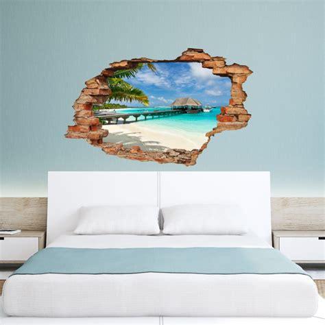 deco chambre orientale sticker trompe l 39 œil quot plage palmier et bungalow quot pas