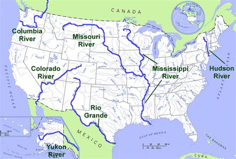 lakes and rivers in the central united states us