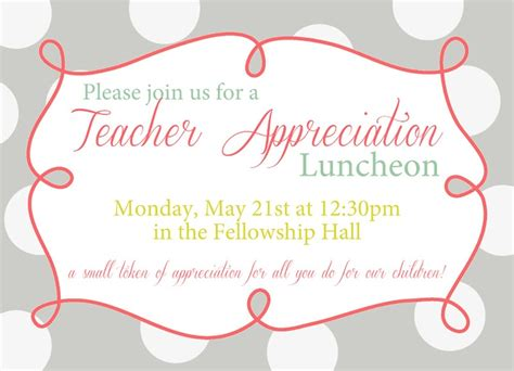 teacher appreciation luncheon invitation wording teacher