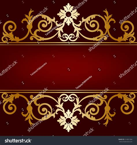 invitation card gold ornament  maroon stock vector